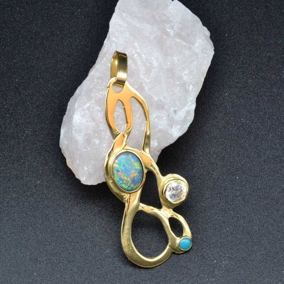 Tara Lois Jewellery Jewlery gold penant boulder opal cz cubic zirconiumturqouise