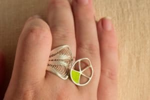 Stylish Structural Ring with Chartreuse Enamel