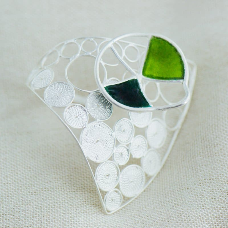 Mussa collection signature ring with contemporary filigree and lead free vitreous enamel