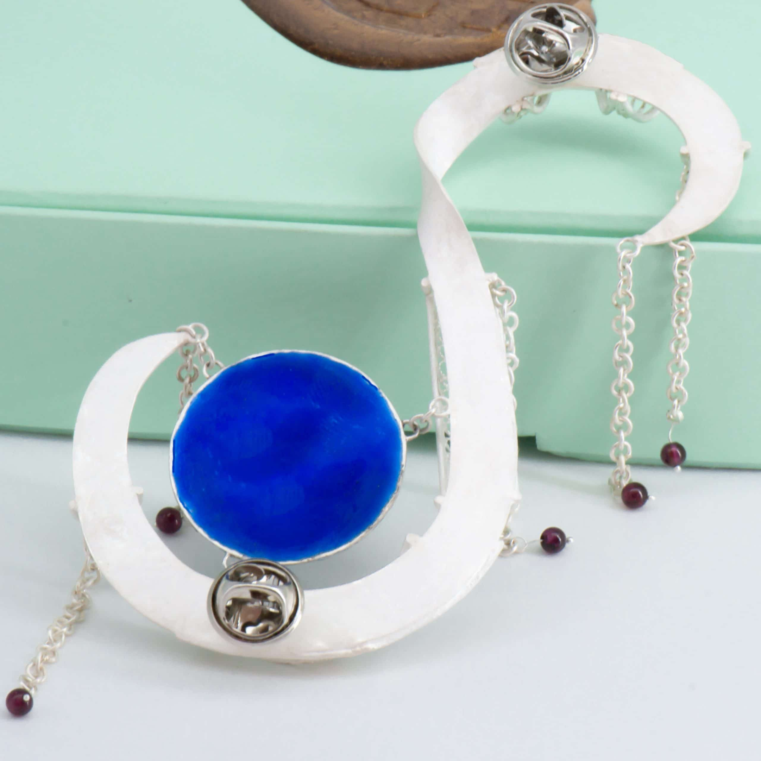 Tara Lois Jewellery back and counter enamelled Indian wedding garland inspired brooch