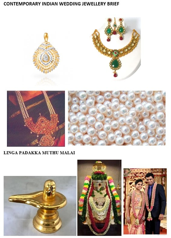 Mood board of photos for the design of a contemporary indian wedding brooch