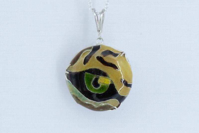 Cloisonné enamel tiger's eye pendant in cat's claw silver mount