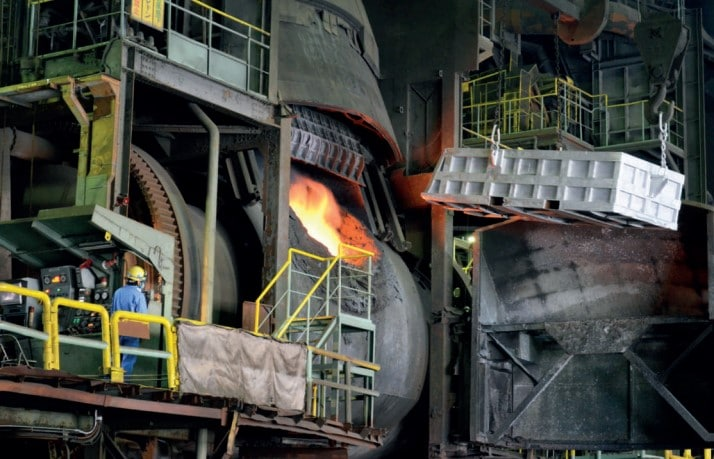 Raw materials being smelted on  an industrial scale Courtesy of Tokyo 2020